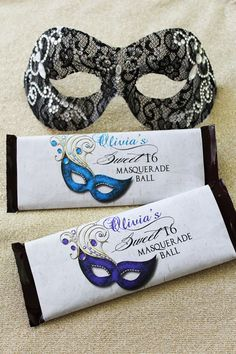 Sweet Sixteen Masquerade Candy Bar Wrappers   Candy Wrapper   Quinceanera   Sweet Sixteen   Hershey Wrapper   Candy Labels   Party Favors