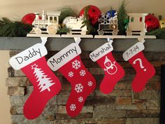 "Christmas time  pregnancy announcement with card stock ""stockings"""