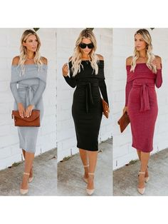 2e902e814d0 Stylish Off Shoulder Long Sleeve Tie Waist Slim Bodycon Dress Sexy Midi  Dress