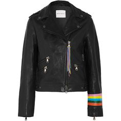 Mira Mikati Fox painted leather biker jacket (22.416.230 IDR) ❤ liked on Polyvore featuring outerwear, jackets, black, fox jackets, leather moto jacket, cartoon leather jacket, biker jacket and asymmetrical zip jacket