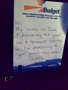 Hit And Run Driver Leaves Courteous Note About Screwing You Over | Happy Place
