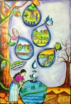 Themes For Painting Of Conservation Of Water Resources - Water Conservation Drawing Save Water Images, Save Water Poster Drawing, Poster On Save Water, Environment Painting, Save Environment Posters, India Poster, Peace Poster, Drawing Competition, Earth Drawings