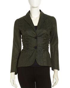 Leonara+Ruched+Linen+Jacket,+Kale+by+Lafayette+148+New+York+at+Neiman+Marcus+Last+Call. Via @Corporette®