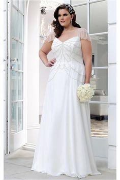 Plus Size Empire A-line Short Sleeves Wedding Dresses