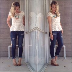 Jeans, lace peplum top