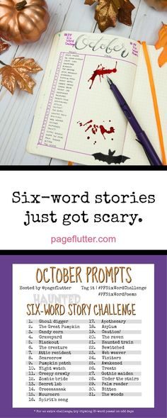 October's HAUNTED Six-Word Story Challenge is here! Grab the printable prompt list and get ready for some super scary, super short stories. Poetry Prompts, Story Prompts, Writing Prompts, Writing Poetry, Writing Ideas, 6 Word Stories, Six Word Story, Word Challenge, Writing Challenge