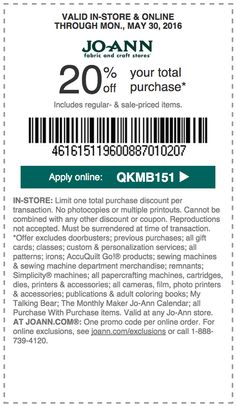 JoAnn Fabrics New coupon! 50 off any one regular