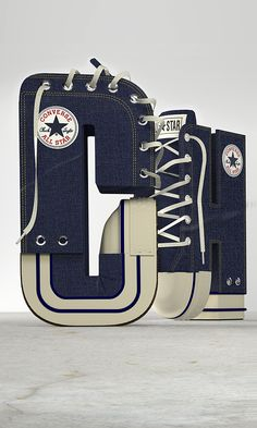 Awesome 3D Typeface Made Up Of Converse All Star Chuck Taylor Sneakers - DesignTAXI.com