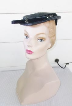 1950s Vintage Blue Beaded Straw Hat by Evelyn by MyVintageHatShop