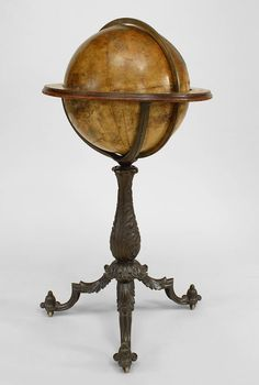 English Victorian Globe Of The World On Iron Pedestal Base With 3 Legs