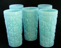 Vintage 1950s Fenton Turquoise Milk Glass Block and Star Tall Glasses