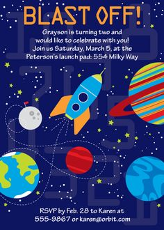 Items Similar To SPACE Birthday Party PRINTABLE INVITATION