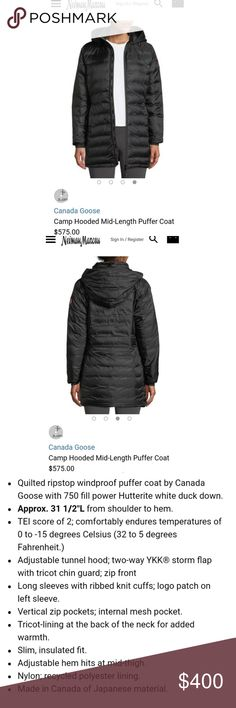 Canada Goose Camp Down Hoody Excellent condition, womens size small in black. Long, puffy jacket, perfect for those cold nights! I'm a sm/med and this fits nicely. Canada Goose Jackets & Coats