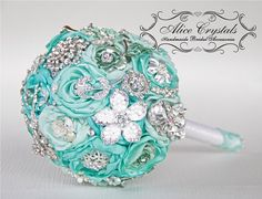 small Brooch bouquet, mint Jeweled Bouquet.