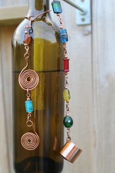 Jewelled Wine bottle Tiki Torch With Hardware 2 by NimbleArtisans, $70.00