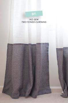 DIY No-Sew Two Tone Curtains.