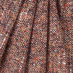 Brown Orange Yellow White Printed Tweed Stretch Cotton Woven Fabric By The Yard