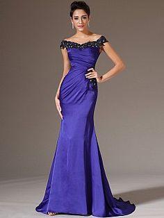 Appliqued Off the Shoulder Satin Chiffon Mermaid Evening Dress - USD $149.00