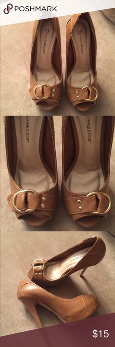⚡️FLASH SALE ⚡️Tan stiletto platforms Just fab shoes only worn once JustFab Shoes Heels