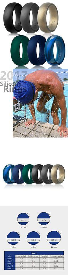 Silicone Wedding Ring,Silicone Wedding Band for Men(Love,Outdoor,Sport) (Black,Midnight Blue,Dark Green,Dark Grey,Arctic Camo,Pale Gold, 8)