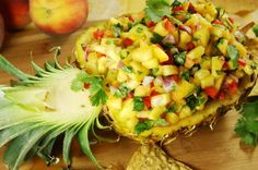 Fresh Peach-Pineapple Salsa {The Kitchen is My Playground}