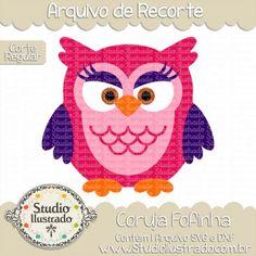 Cute Owl II, Coruja Fofa II, Ave, Pássaro, Bird, Birds, Cute, Fluffy, Cuddly, Maquiada, Makeup, Corte Regular, Regular Cut, Silhouette, DXF, SVG, PNG