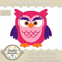 Cute Owl II, Coruja Fofa II, Ave, Pássaro, Bird, Birds, Cute, Fluffy, Cuddly, Maquiada, Makeup, Corte Regular, Regular Cut, Silhouette, DXF, SVG, PNG