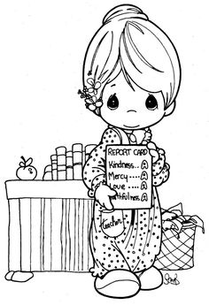 Lovely Teacher - Precious moments coloring pages | Coloring Pages