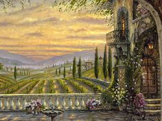 tuscany+art | Tuscan View,Robert Finale,Oil painting,landscape oil paintings,oil ...
