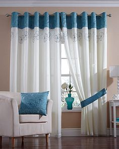 Zara Lined Eyelet Voile Curtains Large Window Curtains, Sheet Curtains, Ruffle Curtains, Cute Curtains, Curtains With Blinds, Rideaux Design, Living Room Decor Curtains, Colourful Living Room, Curtain Designs