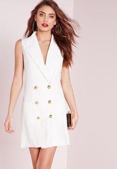 Missguided - Tuxedo Wrap Dress White