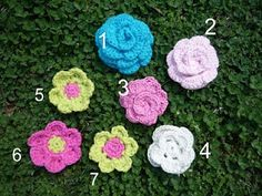 My friend wants me to make her some crochet flowers        I made several variations of these flower here in all sizes. I used a G Hook and an H Hook. You can just use whatever you like though and it will come out a little different each time.       The Patterns:      CROCHET FLOWER 1 - Flowers 1, 2, and 3      CROCHET FLOWER 2  Flower 4    Summer Petal Flowers  Flowers 5, 6,