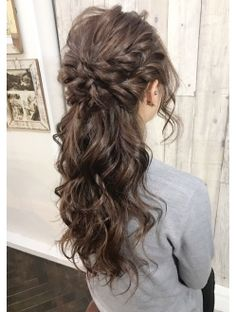 Fluffy Half Up Source by Party Hairstyles, Bride Hairstyles, Bridesmaid Hair, Prom Hair, Wedding Hair And Makeup, Bridal Hair, Beauty Tips For Hair, Hair Beauty, Wedding Guest Hairstyles Long