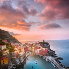 Amazing sunrise over Vernazza village current Cinque Terre workshop in Italy. #italy #cinqueterre #vernazza Danielkordan.com by danielkordan