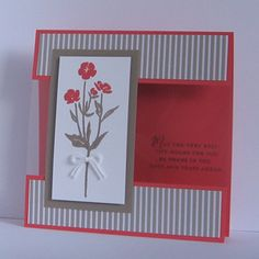 Card made with the Stampin Up Wild About Flowers stamp set. Colours used are Tip Top Taupe and Watermelon Wonder.