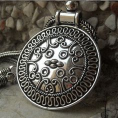 Round bold Medallion necklace, Ethnic necklace, Sterling silver pendant, Silver chain necklace