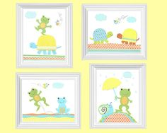 Frog Nursery Art Turtle Nursery BlueGreen by SweetPeaNurseryArt, $45.00