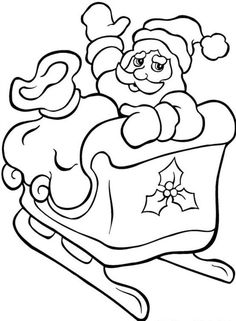 Printable Coloring Pages Christmas Santa With His Sleigh