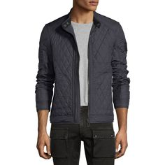 Belstaff Bramley Quilted Zip-Front Jacket ($595) ❤ liked on Polyvore featuring men's fashion, men's clothing, men's outerwear, men's jackets, men's apparel coats, navy, mens navy blue jacket, mens diamond quilted jacket, mens padded jacket and mens navy jacket