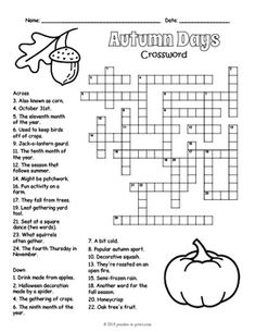 No Prep Fall Activity - Autumn Days Crossword Puzzle Worksheet - 4 Versions