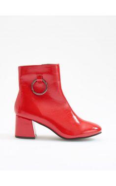 Лакированные ботильоны на каблуке, Обувь, красный, RESERVED
