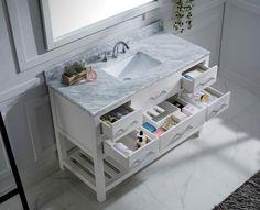 "Caroline Estate 48"" Single Bathroom Vanity Cabinet Set in White"