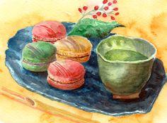 マカロンで和をたしなむ Food Illustrations, Serving Bowls, Sweets, Drink, Tableware, Painting, Beverage, Dinnerware, Gummi Candy