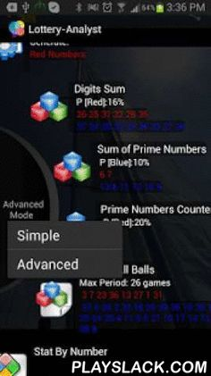 Lottery-Analyst Free  Android App - playslack.com ,  The most intuitive and simplest lottery analysis and lotto prediction software whichprovides statistics for your lottery and helps you to predict the next winning combination. Based on Theory of Probability and Advanced Combination Logic.Uses unique methods and algorithms to analyze the game history and generates the winning numbers.Works with almost all lotto types including Euro Millions, Power Ball, Mega Millions.The simple User Guide…
