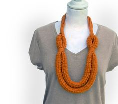 Pumpkin crocheted wool yarn necklace loops necklace by ylleanna, €35.00