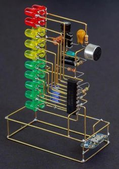 Sound to led level indicator Electronics Mini Projects, Simple Electronics, Hobby Electronics, Electronics Components, Electronic Circuit Design, Electronic Engineering, Led Projects, Electrical Projects, It Wissen