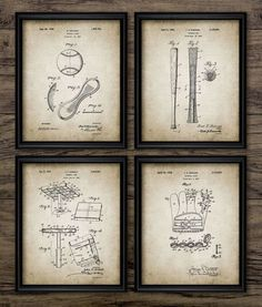 Vintage Baseball Patent Print  Blueprint Wall by InstantGraphics