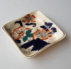 Flow blue orange floral semi-porcelain pin dish #Unsigned