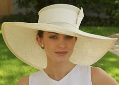 Wide Brim Cream Straw Hat Kentucky Derby Church by AwardDesign, $120.00