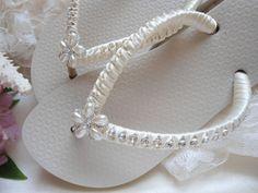 Ivory Flip Flops for Beach Wedding adorned with rhinestones